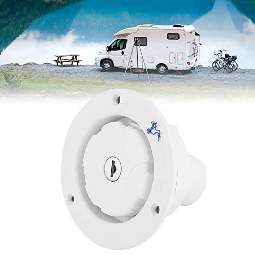 Entrada de agua para RV, tapón de llenado de entrada de agua redondo, coche que acampa del yate para el remolque de RV(white)