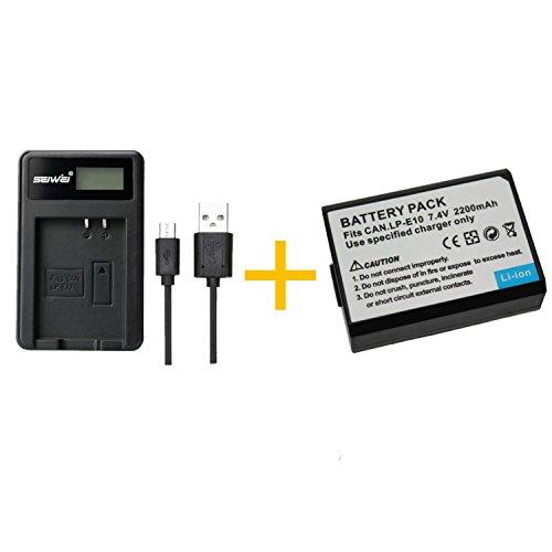 1 Piezas 2200mAH LP-E10 LPE10 Batería con Cargador de batería para Canon EOS Rebel T3, T5, T6, Kiss X50, Kiss X70, EOS 1100D, EOS 1200D, EOS 1300D (1 pcs Battery with Charger)