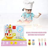 Chuanfeng Spielhausset, Holzküchenspielzeug-Set Vorspielspielzeug-Kochfeld mit Kochgeschirrzubehör...