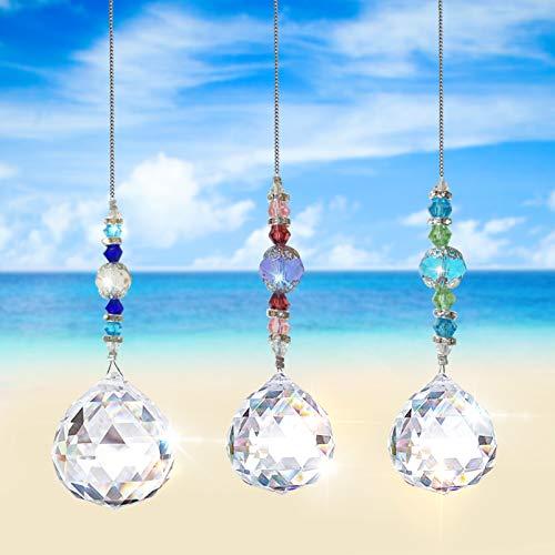 3pcs Cristal Colgante para Ventana,Cristal arcoíris,Cristal Prisma,Colgantes de Cristal,Arcoiris de Cristal,Prisma de Cristal,Colgante de Ventana de Cristal,Bola de Cristal Colgante de Cristal (1)