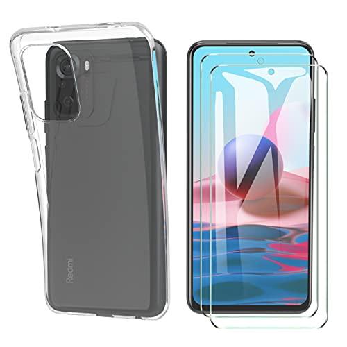 HTDELEC für Xiaomi Redmi Note 10/Note 10S Hülle +[2 Stück] Panzerglas Schutzfolie,Transparent Dünn Handyhülle klare weiche TPU Silikon Schutzhülle Tasche für Xiaomi Redmi Note 10/Note 10S 4G