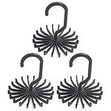 Z ZICOME 3 Pack Adjustable Rotating 20 Hook Neck Ties Organizer Twirling Tie Rack Hanger Holder (Black)
