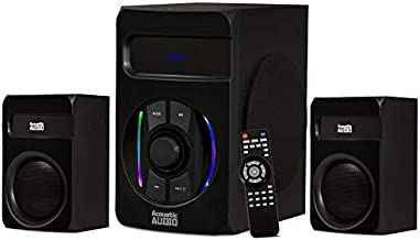 Acoustic Audio by Goldwood Bluetooth 2.1 Speaker Sound System with LED Light Display, USB and SD Card Inputs, Remote Control - AA2108 Black