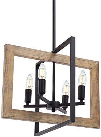 Wellmet Farmhouse Dining Room Lighting Fixtures Hanging 4 Light Rustic Chandelier Kitchen Island product image