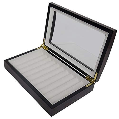 Arolly 10 Pen Pencil Fountain Ebony Wood Display Case Holder Storage Organizer