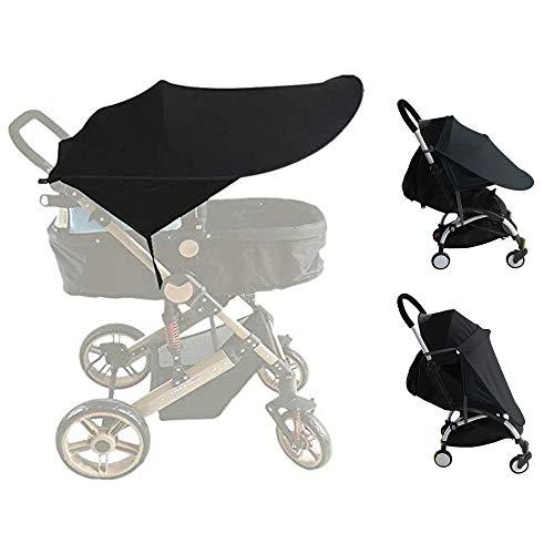 auvstar Funda para Cochecito de Bebé, Toldo para Cochecito de Bebé, Parasol para Cochecito de Bebé, Parasol Negro, Protector Ssolar,Tiene una Excelente Protección UV(Negro)