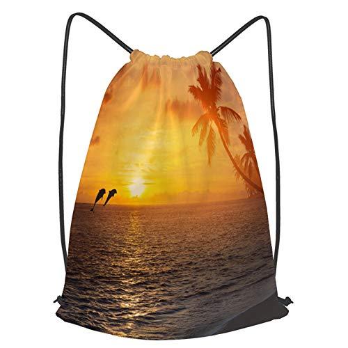 Impermeable Bolsa de Cuerdas Saco de Gimnasio con alfombra de baño antideslizante, palmeras en la playa de la isla tropical, peces saltarines y majestuosa Deporte Mochila para Playa Viaje Natación