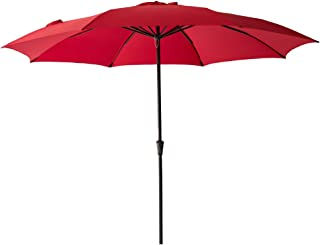 FLAME&SHADE 11' Patio Market Umbrella for Large Outdoor Balcony Backyard Table Deck or Pool Terrace, Red
