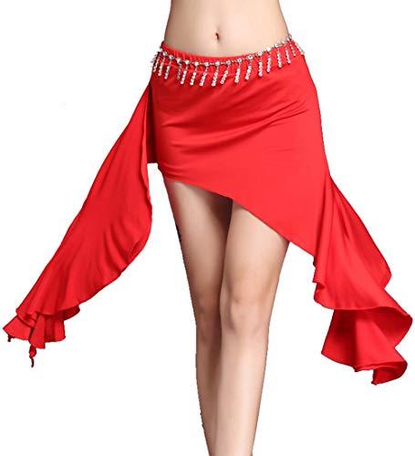 Cheerlife Damen Asymmetrisch Unregelmässig Rock Bauchtanz Rock Indische Tanzkleidung Tanzrock Unterrock Party Festlich Ballkleid M Rot
