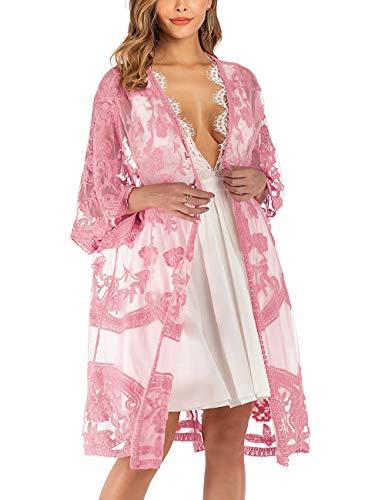 iWoo Kimono sexy para mujer, de encaje, con flores, crochet, parte delantera, chaqueta de punto, para verano, playa, vestido largo Rosa claro. Tallaúnica
