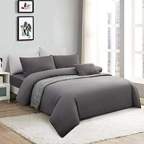 SOULFUL Duvet Cover Sets Double Size- 3 Piece Microfibre Polyester Bedding Set with Pillowcases(200x200cm, Grey)
