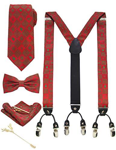 JEMYGINS - Tirantes para hombre en seda, Navidad, 3,5 cm, forma y longitud ajustables, tirantes anchos con 6 clips fuertes y corbata, juego en caja de regalo Rot, Weihnachtsbaum M