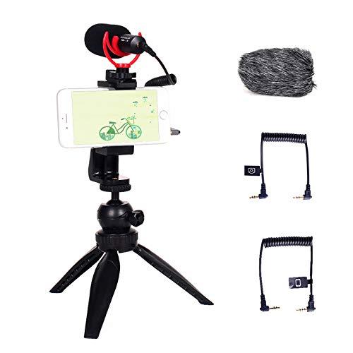 Vitopal VM-i2 Multifunktions-Video-Mikrofon-Set mit Stativ und flexibler Telefonklemme, kompatibel mit Smartphones DSLR-Kameras