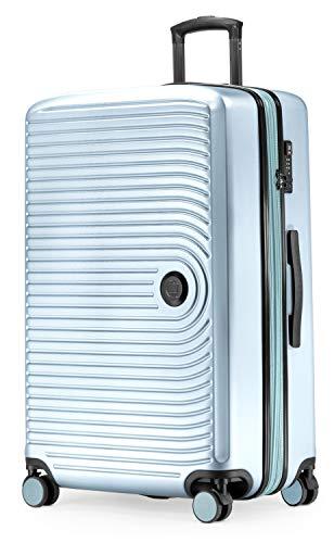 HAUPTSTADTKOFFER - Mitte - Großer Rollkoffer, Koffer Hartschale mit 8 cm Erweiterung, TSA, 4 gummierte Doppelrollen, 77 cm, 130 L, Pool Blue