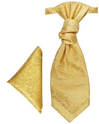 Paul Malone Plastron Set gold barock 2tlg Plastron mit Einstecktuch - Hochzeit Krawatte