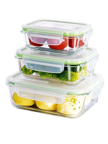 Toekomstige huis glas voedsel opslag container set van 3 opslag potten slot ogen