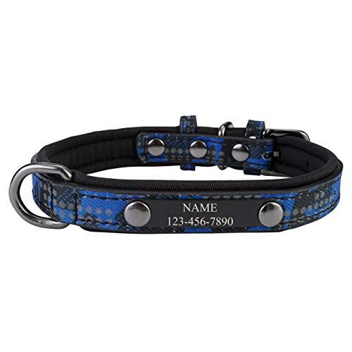 Filhome Collar para perros con reflectores personalizados, de piel, con nombre grabado y número de teléfono, para perros pequeños y medianos en azul / S