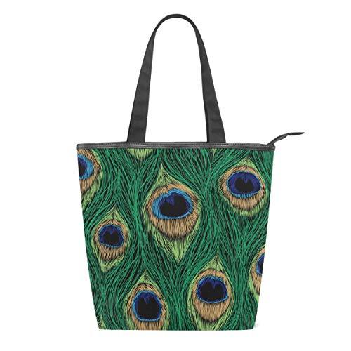 Bolsa de Lona con diseño de Plumas de Pavo Real para Mujer, Colorida, para Escuela, Libro, para Llevar al Hombro, para IR de Compras, a la Playa, Viajes, al Gimnasio, Uso Diario
