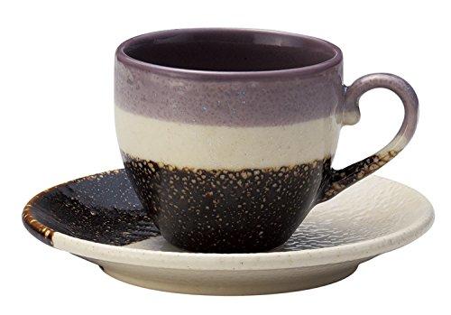 Japonesa Mino-yaki cerámica taza de café con platillo–Esmalte morado por Aitoh 266422