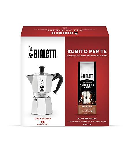 Bialetti Moka Express - Cafetera de 6 tazas + café molino perfecto Moka de 200 g, sabor avellana, paquete de regalo