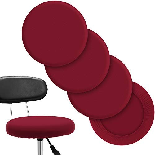 Round Bar Stool Covers Elastic Bar Chair Covers Washable Stool Cushion Slipcover for Home Bar Hotel Use, 12 - 14 Inch (Wine Red,4 Pieces)