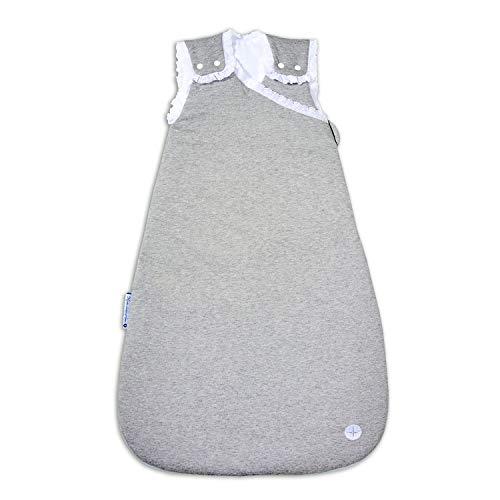 Kuscheliger Schlafsack 70cm von nordic coast | Grau mit Spitze | Schlafsack 3-6 Monate | Baby Schlafsack Ganzjahres für 18-21° Raumtemperatur