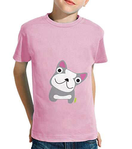 latostadora - Camiseta Bulldog Frances para Nino y Nina Rosa S