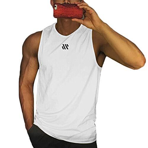 WDFWORD メンズ タンクトップ トレーニング ノースリーブ フィットネスTシャツ 筋トレ スポーツインナー 袖なし スポーツウェア ボディビル マッスルフィット 吸汗速乾 13色 (ホワイト, XL)