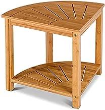 Giantex Bamboo Corner Shower Bench W/Shelf for Bathroom Spa Bath Organizer Corner Table Stool Corner Teak Shower Bench