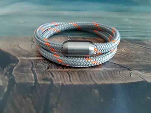 Handmade, Damen, Herren, Armband Edelstahl- Segelseil, Seil Wickel Armband Hell Grau/Neon Orange, Größe frei wählbar
