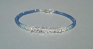 Pulsera de zafiro, zafiro azul, pulsera de diamantes Herkimer, diamantes Herkimer, pulsera de aguamarina, pulsera delicad...