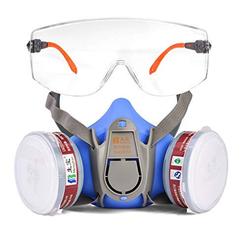 Gafas de seguridad Safeyear -SG009 Gafas de seguridad para protección de los ojos con lentes de plástico transparente y empuñaduras de goma para la nariz y las orejas para un ajuste cómodo