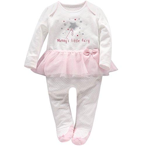 Neugeborene Mädchen Tütü Strampler Spielanzug Baby Langarm Footed Overalls Säugling Schlafanzug, 6 Monate