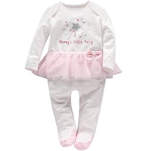 Recién Nacido Niñas Peleles Algodón Mameluco Tutú Pijama Bebé Footies Tuta Outfits, 0-3 Meses