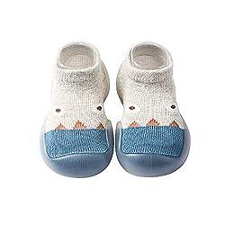 Calzini per Neonati Scarpe Calzini da Passeggio Antiscivolo Calzini Sottili per Bambini Calzini da Pavimento per Neonati(12-18 Mesi,Grigio)