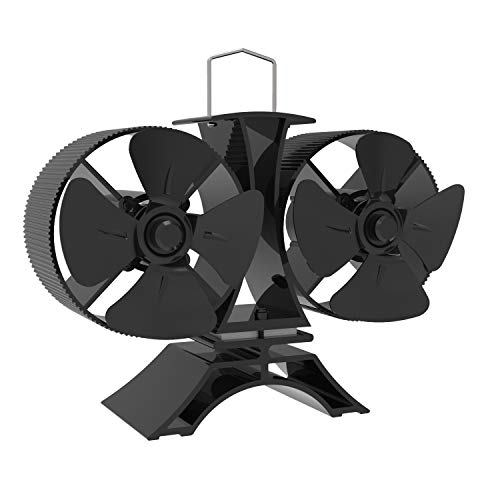 Mini Ofenventilator mit Zwillingsmotor- kamin ventilator Zwillingsmotor ventilator ofen für Holz/Holzofen/Kamin - Umweltfreundlich,Lautlos,mit magnetischem Themometer[Energieklasse A +++]