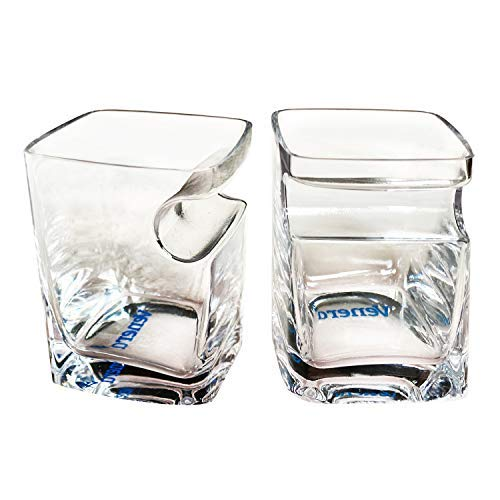 VENERA Whiskey Glass Old Fashioned Glasses Built-in Side Mounted Cigar Rest Top-Quality Twist Style Liquor Glass for Scotch or Bourbon Durable- Set of 2