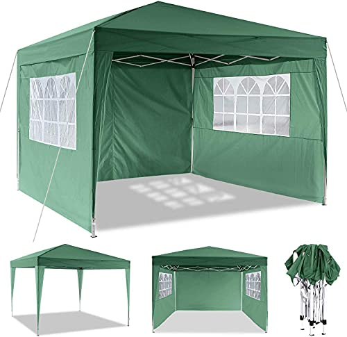 Laiozyen Pavillon 3mx3m, Tente de pavillon Pliable imperméable à l eau, Tente de pavillon Pliante avec 4 côtés pour Jardin fête Mariage Pique-Nique marché (Vert Clair)