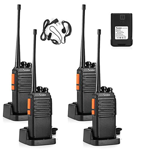 Seodon Walkie Talkies for Adults Long Range with One Extra Battery for Each Radio Rechargeable 4 Pack Up to 5 Miles Range in The Open Filed Two Way Radios with Earpiece/Headsets