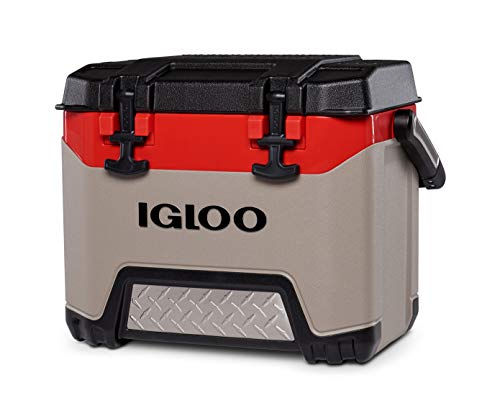Igloo BMX 25 Quart Cooler with Cool Riser Technology, Fish Ruler, and Tie-Down Points - 11.29 Pounds - Sandstone and Red