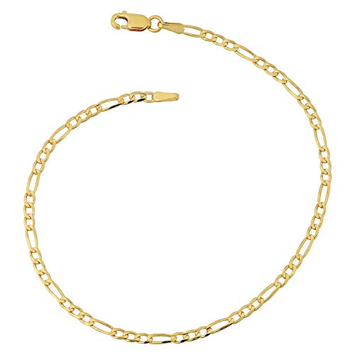 Armband 14 Karat 585 Gold Italienisch Figaro Gelbgold Armkette Breite 3 mm (20)