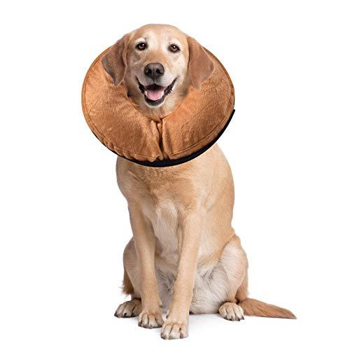 PET SPPTIES aufblasbar Halsband für Haustier Hund Katze bequem weich Recovery Schwimmen Schutz-mit Magic Reißverschluss für Haustier Hund Nackenschutz Kissen PS005 (L/Khaki)