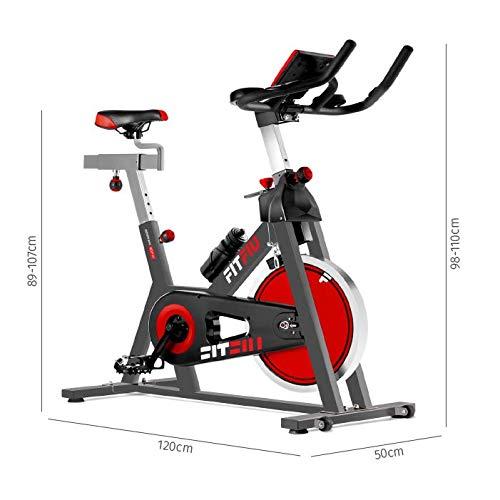 FITFIU BESP-22 - Bicicleta Indoor Spinning ergonómica con disco inercia 24kg y resistencia regulable, Bici Entrenamiento Fitness con sillín ajustable, Pulsómetro y pantalla LCD