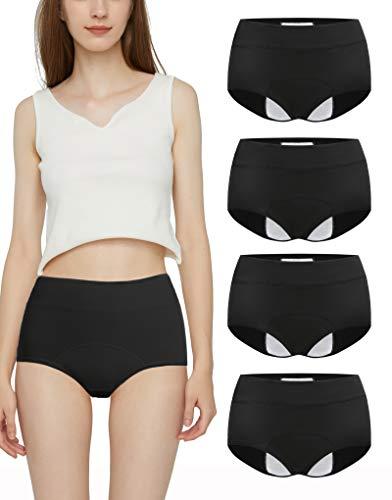 Donpapa Damen Perioden Unterwäsche Menstruation Slip Auslaufsicher Baumwolle Snuggs Panties Postpartum Unterhosen 4 Pack (Schwarz 4XL)