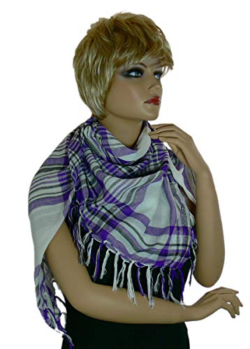 Trendfinding paleis Egyptische sjaal palituatie palituch Pali doek sjaal sjaal halsdoek geruit met zilveren draden