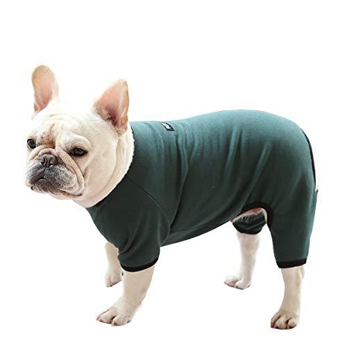 Hundekleidung, Hunde-Pyjama, weich, Vierbeiner-Overall, französische Bulldogge, Kleidung, Hunde-Einteiler für Welpen, kleine, mittelgroße Hunde (Dunkelgrün, X-Large)