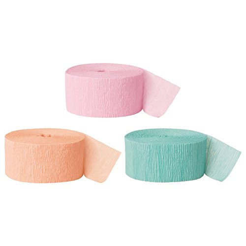 Andaz Press Crepe Paper Streamer Hanging Party Decorations Kit, 240-Feet, Pink, Peach, Diamond Blue Mint, 1-Pack, 3-Rolls, Colored Wedding Baby Bridal Shower Birthday Supplies