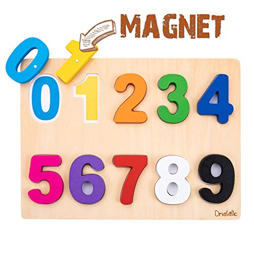 Magnetic Wooden Educational Number Puzzle - Learn Numbers & Color Recognition Toy – Toddler Preschool Game – Kids Montessori Education