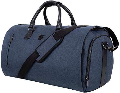 Bolsa de Viaje e Diseñador 2en1-55L Nueva Colección 2021   Forro Azul   Cremalleras de Metal   Bolsillo para Portátil   Caja de Regalo y Etiqueta para Equipaje   Bolsa para Trajes   Gris Oscuro