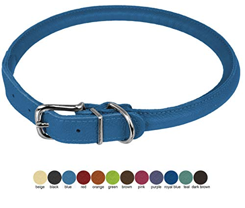 Dogline Rolled Leather Dog Collar - for Small, Medium and Large Breeds - Soft and Padded Round Luxury Design 1/2 by 22-25' Round Leather Collar, X-Large, Royal Blue